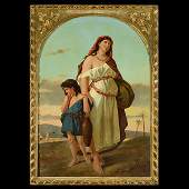 """FRENCH SCHOOL """"Woman and Child in the Desert"""" Oil on"""