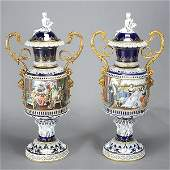 Pair of Large Dresden Porcelain Covered Two Handled
