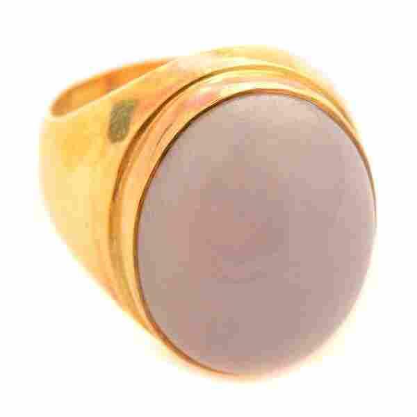 Lavender Jade, 18k Yellow Gold Ring.