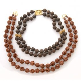 Chinese Wood And Gilded Silver Necklace.