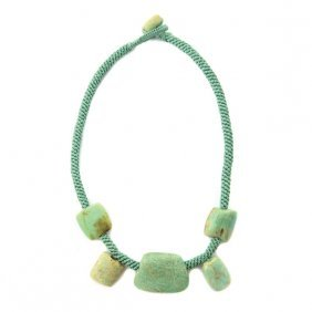 Ancient Chinese Amazonite, Jade Bead Necklace.