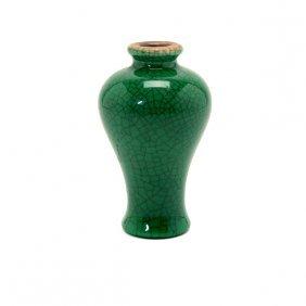 A Green Crackle Glazed Miniature Vase, 19th Century