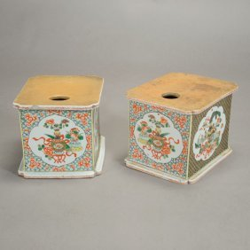 A Pair Of Famille Verte Porcelain Stands, 18th Century
