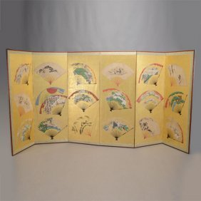 A Japanese Painted Six-panel Folding Floor Screen
