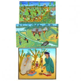 Haitian Paintings, Micius Stephane With 2 Michael