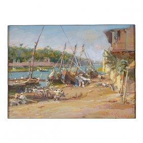 """Louis Vogt """"harbor Scene, Cairo"""" Watercolor"""