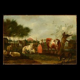 "Dutch School ""tending The Cows"" Oil On Canvas."