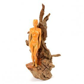 California School Carved Nude Figure With Drift Wood