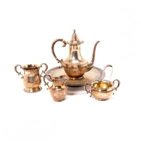Shreve Sterling Four Piece Bachelor Coffee Service,