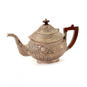 Anglo Indian Silver Teapot With Wood Handle, 19th