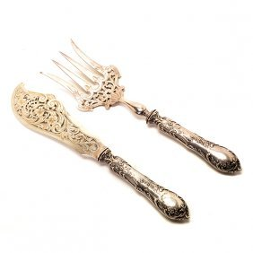 Pair Of French Art Nouveau Silver Handled Fish Servers