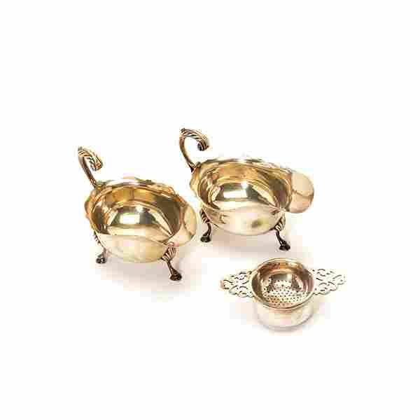 Pair of English Sterling Silver Gravy Boats and Tea