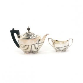 English Sterling Teapot And Creamer, William Gibson &
