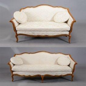 Louis Xv Style Beechwood Upholstered Sofa And Loveseat