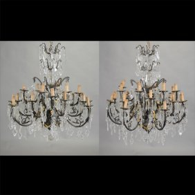 Pair Of Patinated Bronze Twenty Four Light Chandeliers