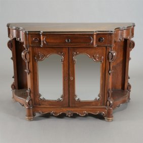 Rococo Revival Rosewood Buffet Fitted With Mirrored