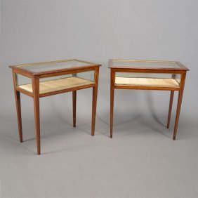 Pair Of Baltic Style Brass Mounted Vitrine Cabinets