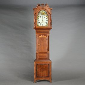 Victorian Inlaid Mixed Wood Longcase Clock With Painted