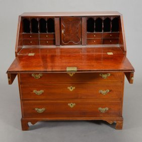 American Chippendale Curly Maple Slant Front Desk
