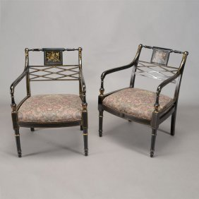 Pair Of English Regency Style Ebonized Armchairs