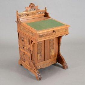 Renaissance Revival Burl Walnut Davenport Desk