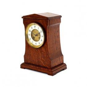 Arts And Crafts Oak Mantel Clock
