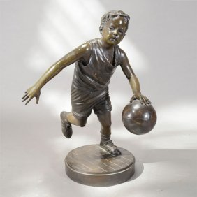 Patinated Bronze Figure Of A Basketball Player