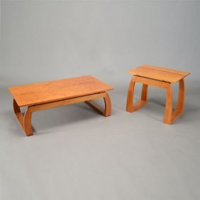 Contemporary Hawaiian Style Coffee Table And Side Table