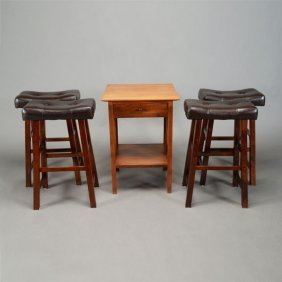 Thomas Moser Side Table And A Set Of Four Stools