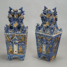 Pair Of Large Modern Porcelain Covered Urns
