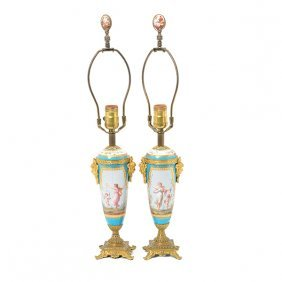 Pair Of Sevres Style Gilt Bronze Mounted Porcelain