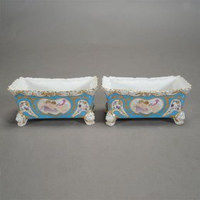 Pair Of Sevres Style Porcelain Rectangular Planters