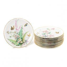 Suite Of Eleven Aynsley Porcelain Dessert Plates