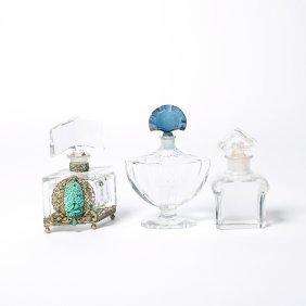 Czechoslovakian Perfume Bottle And Two Baccarat
