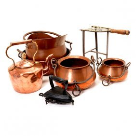 Six Copper And Mixed Metal Vessels
