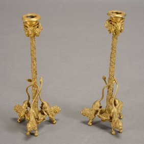 Pair Of English Gilt Bronze Figural Candlesticks