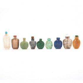 Nine Hardstone Snuff Bottles