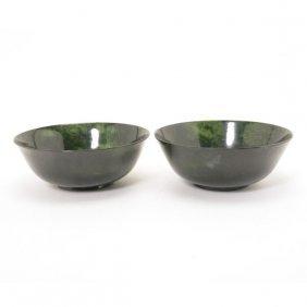 A Pair Of Spinach Green Jade Bowls