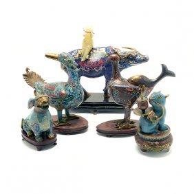 Five Cloisonn Enamel Animal-form Vessels