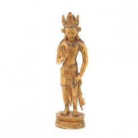 A Gilt-bronze Figure Of Maitreya