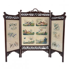 A Wood Folding Screen With Chinese Export Gouache