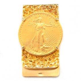 Gold Coin, 14k Yellow Gold Money Clip.