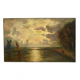 """Attributed To Jules Dupre """"ship At Sunset"""" Oil On"""