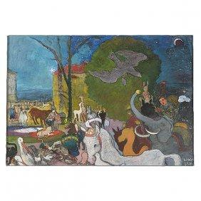 """Bela Kadar """"circus"""" Mixed Media Hungarian Art"""