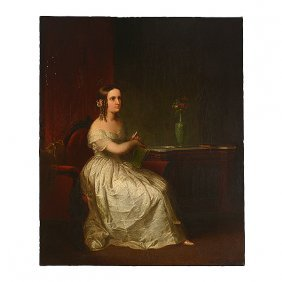 "Samuel Morse ""portrait Of A Woman"" Oil American Art"