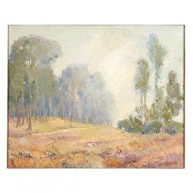 "George Demont Otis ""eucalyptus In Fog"" Oil On Canvas"