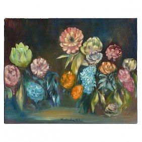 """Robert Kulicke """"floral Still Life"""" Oil On Board."""