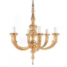 Baroque Style Giltwood Six Light Chandelier