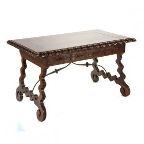 Spanish Baroque Style Iron Mounted Walnut Library Table