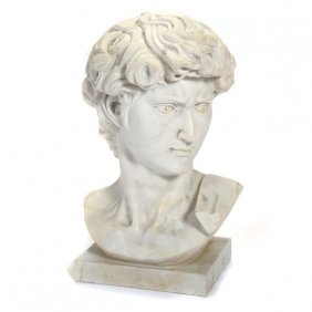 Carved Marble Bust Of David